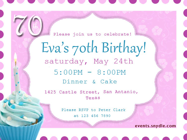 70th Birthday Invitations Good Time Of 70 Years