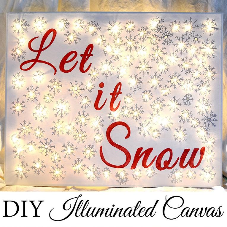 20 do it yourself christmas sign ideas lights for pinterest folks diy illuminated canvas solutioingenieria Images