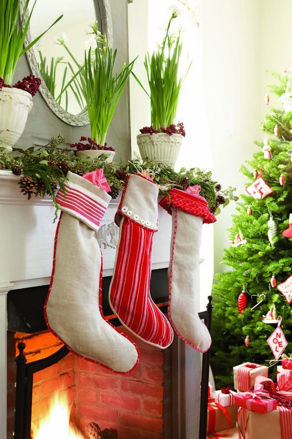 knit some classic christmas stocking decorate with seasonal items and