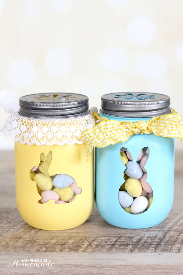 Stunning easter crafts and ideas festival around the world easter bunny treat jars negle Images