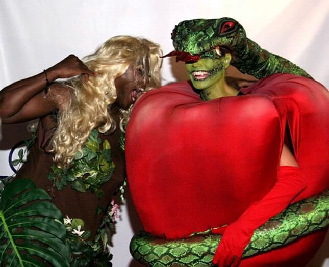 This is such a fresh change from regular Adam and Eve costume. We love the way how this dude is dressed up as both apple and snake in disguise. & Halloween Costume Ideas For Couples For 2017 - Festival Around the World