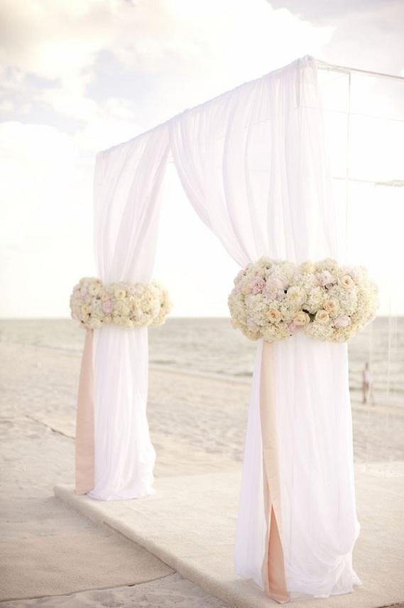 blush pink beach themed wedding altar ideas - pink beach wedding ideas